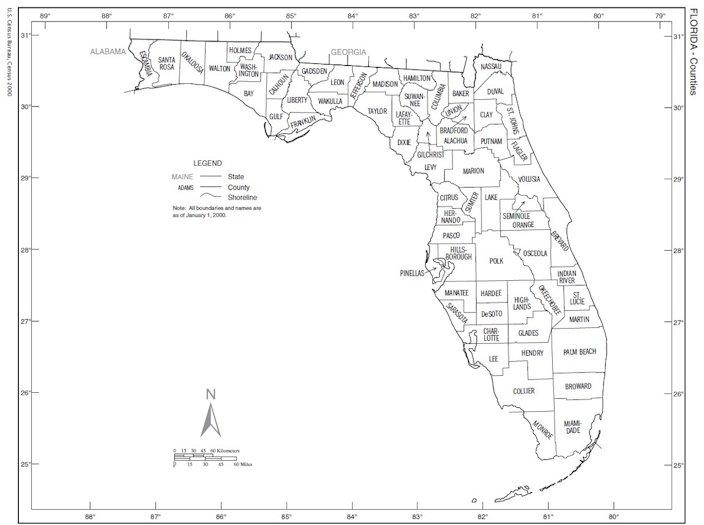 Zonemaps - Florida map counties