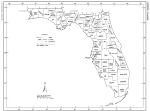 Map Of Florida With Counties.Zonemaps