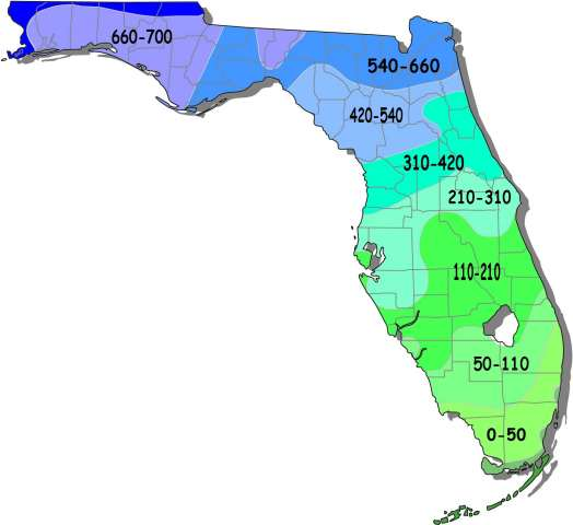 hardiness zone map of florida fig 1 chill hour accumulation in florida
